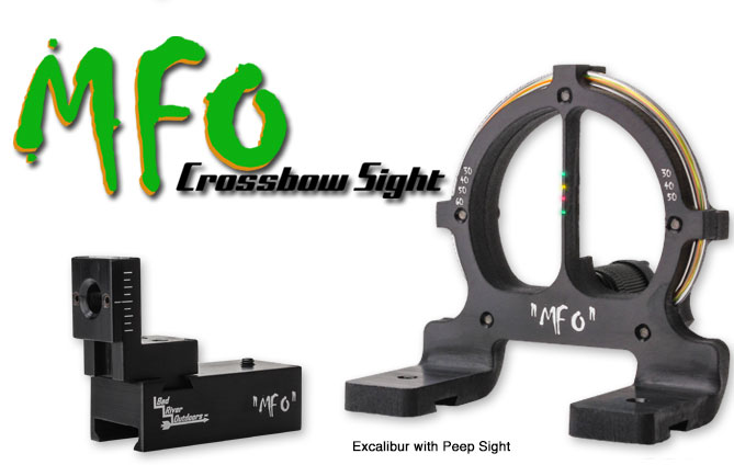 MFO Crossbow Sights - 4 pin for Excalibur with Peep Sights shown