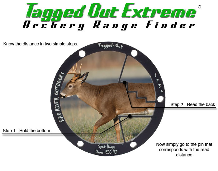 Tagged Out Extreme Archery Range Finder - Range in 2 steps 1 - Hold the bottom 2 - Read the back - Now simply go to the pin that corresponds with th eread distance